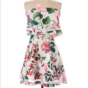 ASOS Casual Floral Print Mini Strapless Dress